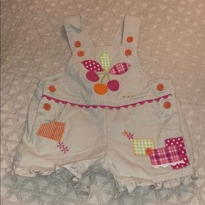 Other - Toddler Khaki overalls cherries and patches 0/3M